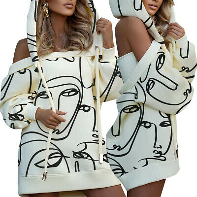 $ CDN30.77 • Buy Stylish New Women Long Sleeves Cute Print Drawstring Hoodie Bodycon Club Dress