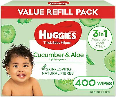 AU20.94 • Buy Huggies Thick & Soft Baby Wipes Cucumber & Aloe 400 Wipes Refill Pack