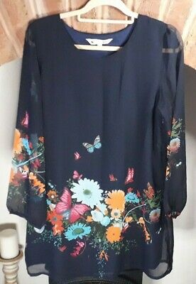 Yumi Dress Navy Blue Shift Long Sleeves Floral Butterflies Mix SIZE 16 • 20£