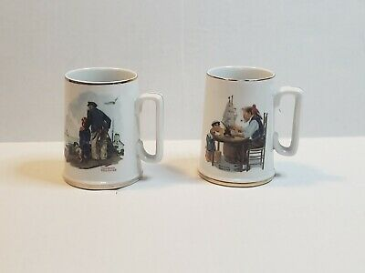 $ CDN21.15 • Buy Vintage 1985 Norman Rockwell Museum Coffee Mugs Cups Set Of 2 White W/ Gold Trim