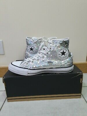 All Star Converse White/silver Sequin Trainers /high Top Shoes Size Uk 5.5  • 38.99£