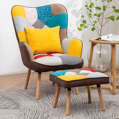 Patchwork Fabric Upholstered Wing Back Chair High Back Armchair With Footstool • 179.95£