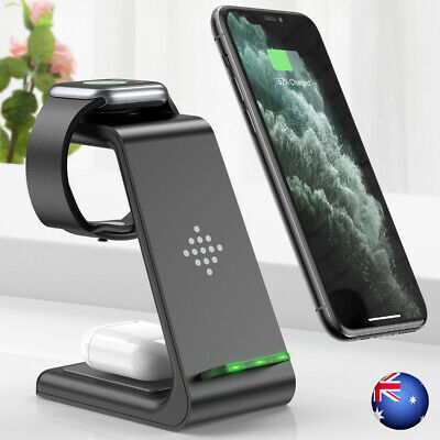 AU39.59 • Buy 3 In 1 Wireless Charger Dock Charging Station For Apple Watch IPhone 12 11 XS 8+