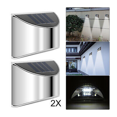 2 Pack Led Solar Fence & Wall Lights Garden Security Outdoor Post Step Stylish • 6.39£