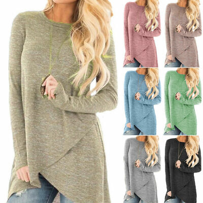 Women Loose Long Sleeve Shirt Tunic Tops Ladies Casual Pullover Irregular Blouse • 8.99£