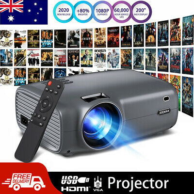 AU169.95 • Buy JEEMAK Portable Projector HD 1080P LED Home Theater Video Projector HDMI USB AU