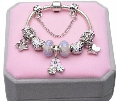 AU25 • Buy Light Purple Silver Plated Crystal Charm Bracelet By Pandora's Queen