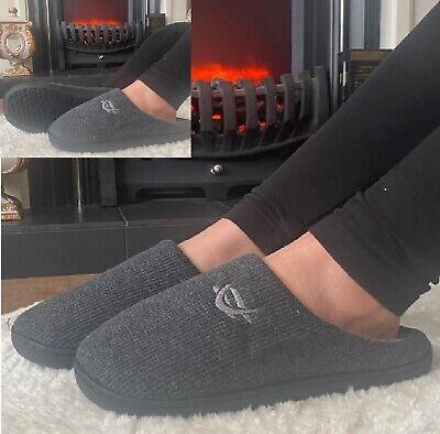 Ladies Womens Slip On Cotton Fleece Lined Indoor  Memory Foam Clog Warm Slippers • 5.99£