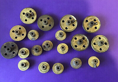 Vintage  Meccano Brass Flanged Wheels And Flanged Pulley Wheels X 19 • 9£