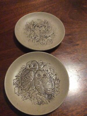 """Poole Pottery Plates """"OWLS"""" By Barbara Linley Adams Approx. 5"""" Diameter • 5£"""