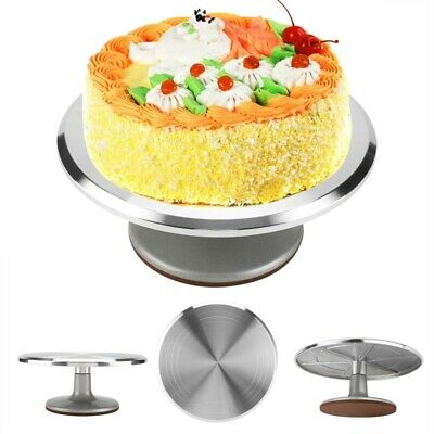 12'' Cake Turntable Aluminum Cake Revolving Stand Holder Cake Baking Decor Tools • 18.99£