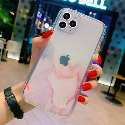 AU8.98 • Buy For IPhone 12 11 Pro Max Mini Clear Marble Shockproof Case Glitter Bling Cover
