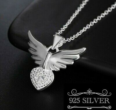 £4.95 • Buy Angel Wing HeartPendant Necklace 925 Silver Rhinestone Chain Gift Guardian Lady