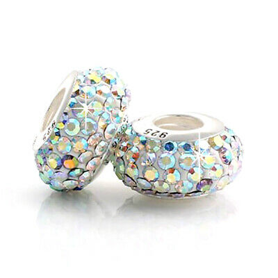 £5.95 • Buy 1 Glitter Crystal Charm Bead 925 Silver Gift For Wife Mum Nan Sister