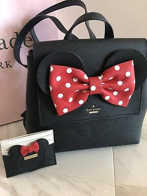 $ CDN359 • Buy NWT KATE SPADE X MINNIE MOUSE NEEMA Leather Bag BACKPACK + CARD HOLDER WALLET