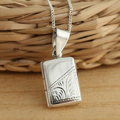 925 Sterling Silver Small Rectangular Photo Locket Engraved Pendant Necklace Box • 12.98£