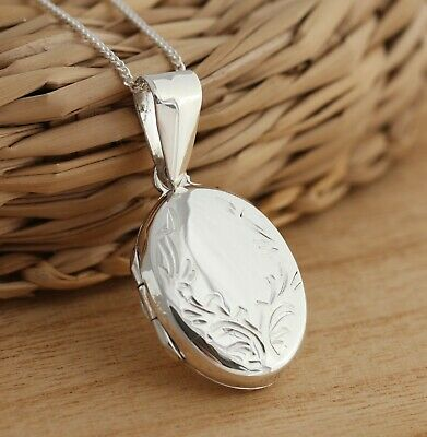 925 Sterling Silver Oval Photo Locket Engraved Pendant Necklace Gift Box • 17.98£