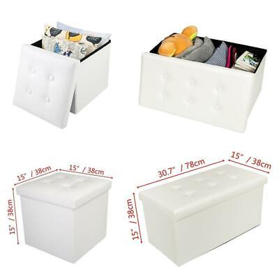 Ottoman Large Storage Box Foot Stools 1&2 Seater Bench Seat White Footstool • 11.39£