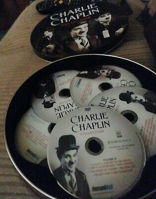Charlie Chaplin Film Reel Collection GIFT TIN  5 DVDS 37 Films.  • 4£