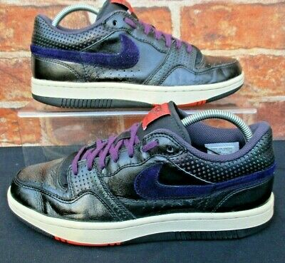 Nike Court Force Low Leather& Suede Trainers Size 8 Black Leather & Purple  • 14.99£