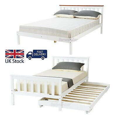 Bunk Bed Solid Pine Wood Triple Double Bed Frame Slats With Stairs Children Kids • 199.99£