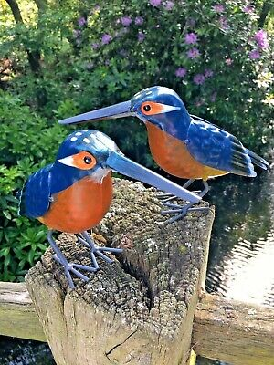 £14.99 • Buy Pair Of Hand Finished Metal Kingfisher Garden Bird Pond Ornaments