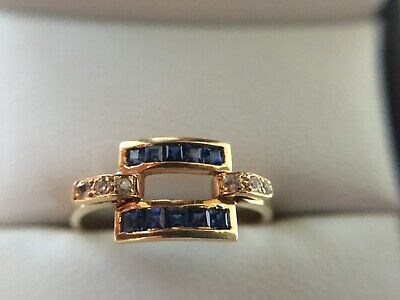 18ct Art Deco Sapphire And Diamond Ring • 345£