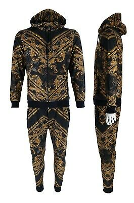 £39.99 • Buy Mens Time Is Money Baroque Print Urban Tracksuit Matching Hoodie Joggers Outfits