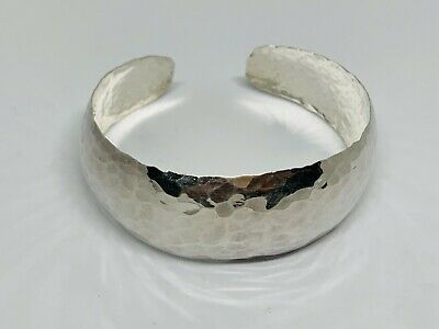 Stunning Wide Hammered Effect Torque Cuff Bangle 925 Solid Silver 19.50g #11371 • 53£