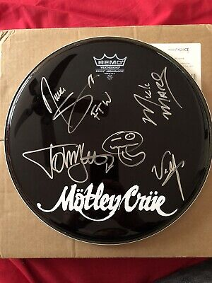 "Motley Crue Signed 12"" Drum Skin By Tommy Lee, Nikki Sixx Mick Mars & Vince Neil • 549.99£"