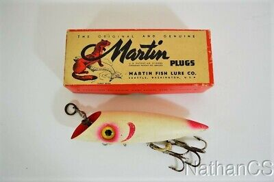 $ CDN32.01 • Buy Vintage MARTIN WHITE RED GILL Fishing Lure In Box