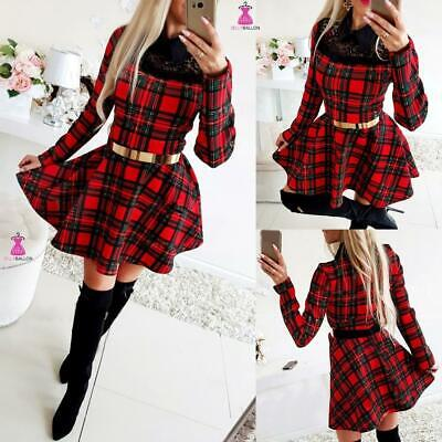 UK Womens Check Lace Skater Dress Ladies Long Sleeve Plaid Xmas Party Mini Dress • 15.79£
