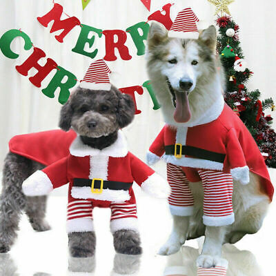 Pet Puppy Christmas Dog Cat Santa Claus Elf Coat Costume Outfit Cosplay Clothes • 5.69£