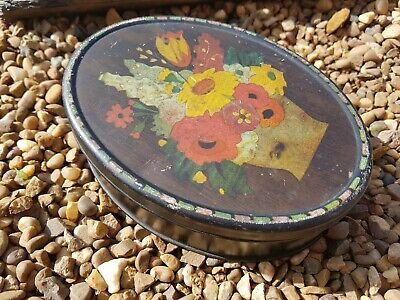 Vintage ROWNTREE Oval Sweet Tin With BOUQUET Metal COLLECTABLE Tin • 5£
