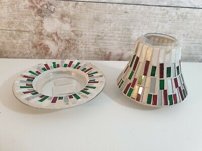YANKEE CANDLE Red & Green Smashed Mosaic Glass Small Shade & Tray • 12.99£