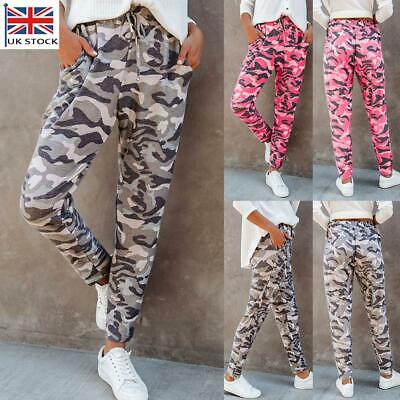 £11.51 • Buy Women's Camo Cargo Joggers Trousers Ladies Casual Tracksuit Bottoms Cargo Pants