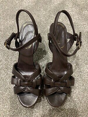 YSL Brown Tribute Sandals Size 39 Uk6 • 150£