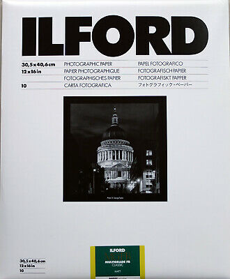 Ilford Multigrade FB Classic Matt 12x16  10 Sheets Black & White Darkroom Paper • 36.99£