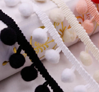 1 Yards 15mm Pom Pom Trim Plush Ball Lace Trimming Edge DIY Crafts Decor • 2.49£