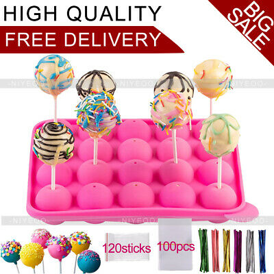 £11.19 • Buy 20 Units Hole Silicone Cake Pop Mould With Sticks Silicone Lollipop Chocolate