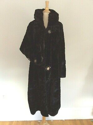 £363.59 • Buy 1920's 1930's VINTAGE Faux Fur Hooded Opera Coat Silk Lined Bell Sleeve BUTTONS
