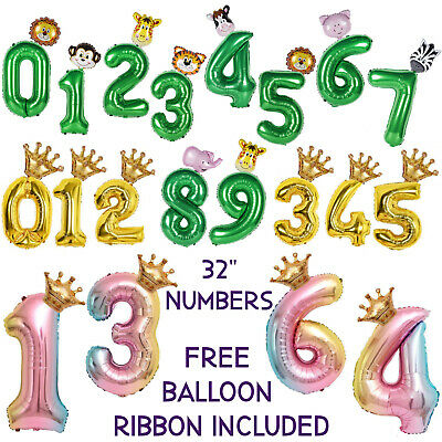 AU7.50 • Buy Number Balloons, Animal Jungle Party Decorations,Unicorn Party Supplies,Birthday