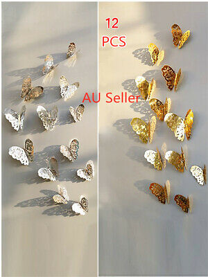 AU4.99 • Buy 12Pcs 3D DIY Wall Decal Stickers Butterfly Home Room Art Decor Decorations AU