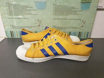 ** WORN ONCE ** RARE VINTAGE YELLOW & BLUE 1970s ADIDAS ADRIA UK 8 • 75£