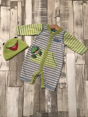 Baby Boys Clothes Bundle 0-3 Months Kermit The Frog All In One With Matching Hat • 6£