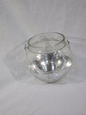 Gisela Graham - Silver Dipped Glass Fish Bowl Tea Light Holder • 2.50£