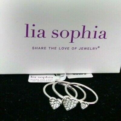 $ CDN25.05 • Buy New Lia Sophia LOTS OF LOVE Rings Set Of 3 Pave Hearts Silver Rhodium, Crystals