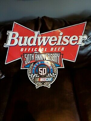 $ CDN83.54 • Buy Budweiser Beer NASCAR 50th Anniversary Embossed Metal Tin Bar Sign 28x24 1998