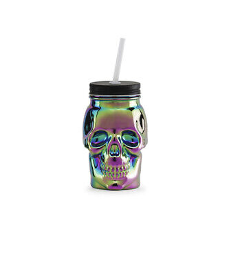 GLASS  Rainbow Skull SIPPER JAR WITH LID AND STRAW • 7.16£