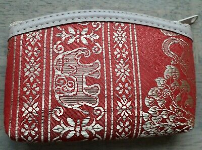 Elephant Coin Purse Red Gold Small Indian Thai Style • 3.99£